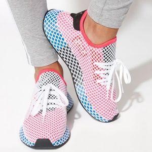 NWT Wmns Adidas Red/Blue Deerupt Runner